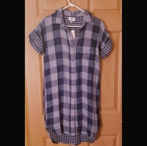 Old Navy Blue Flannel Long Shirt